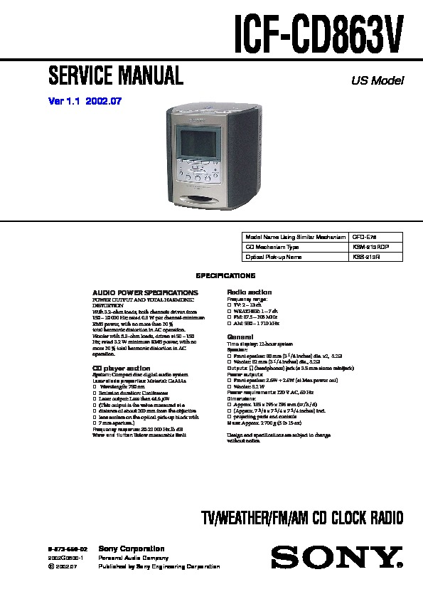 sony icf cd863v service manual free download rh servicemanuals us