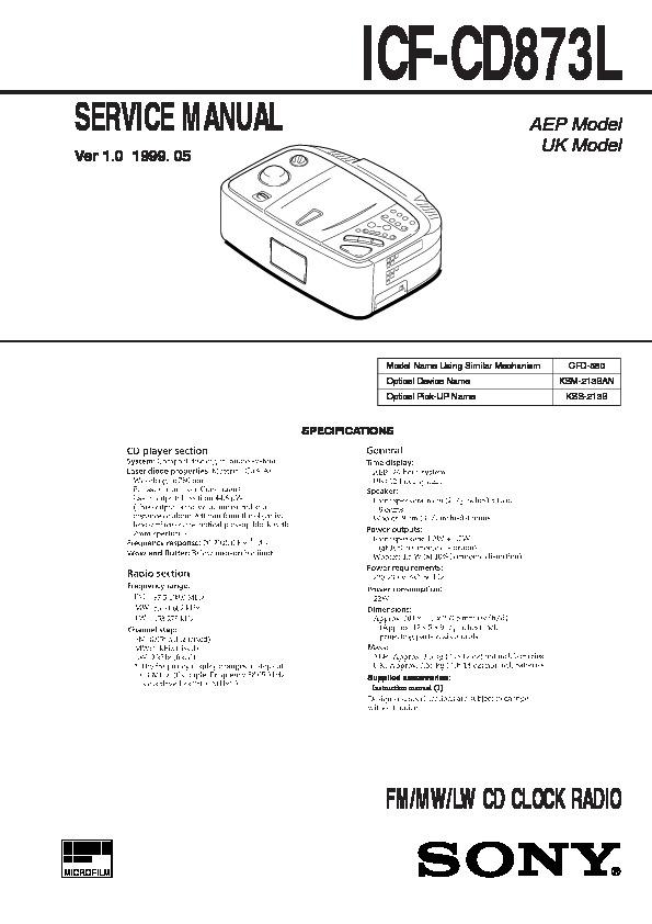 sony icf cd873l service manual free download. Black Bedroom Furniture Sets. Home Design Ideas