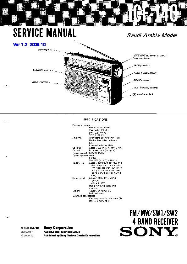 sony icf-j40 service manual