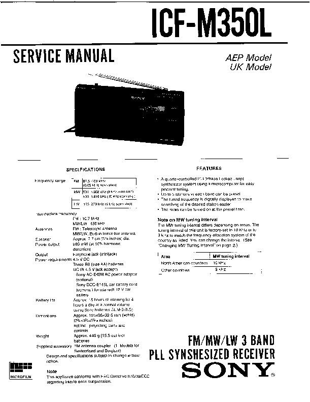 Sony Icf-m350l Service Manual