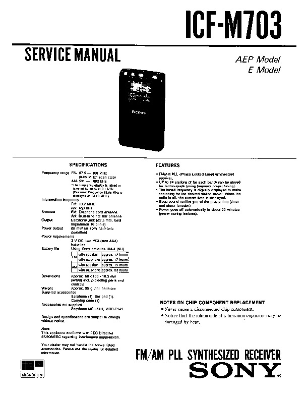 Sony Icf-m703 Service Manual