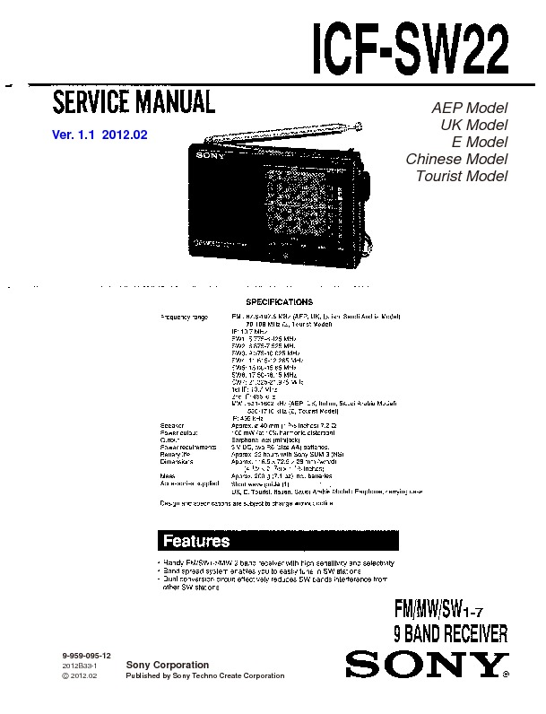 sony icf-sw22 service manual