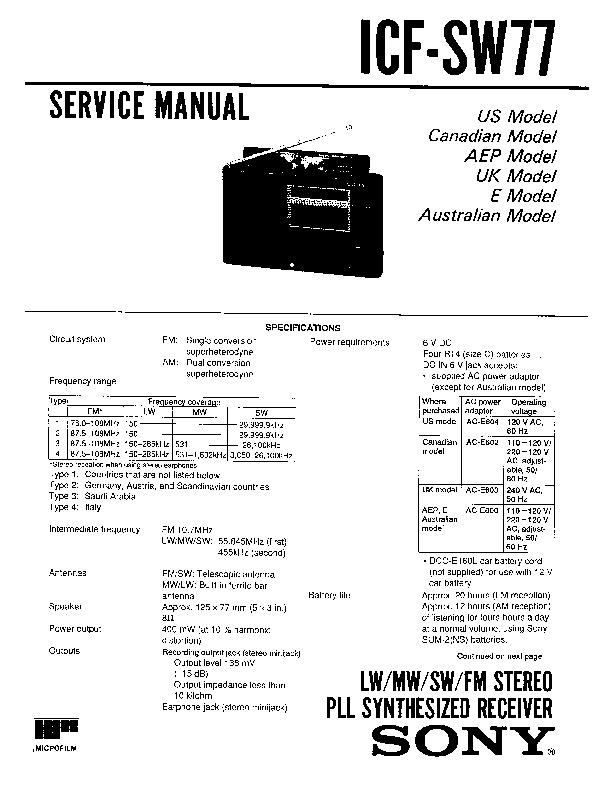 sony icf-sw77 service manual