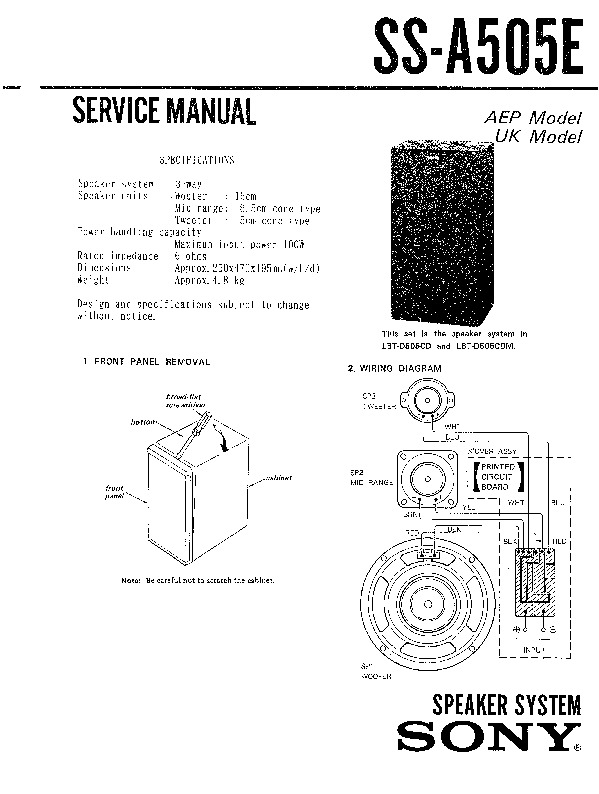 sony lbt-d505cd  lbt-d505cdm  ss-a505e service manual