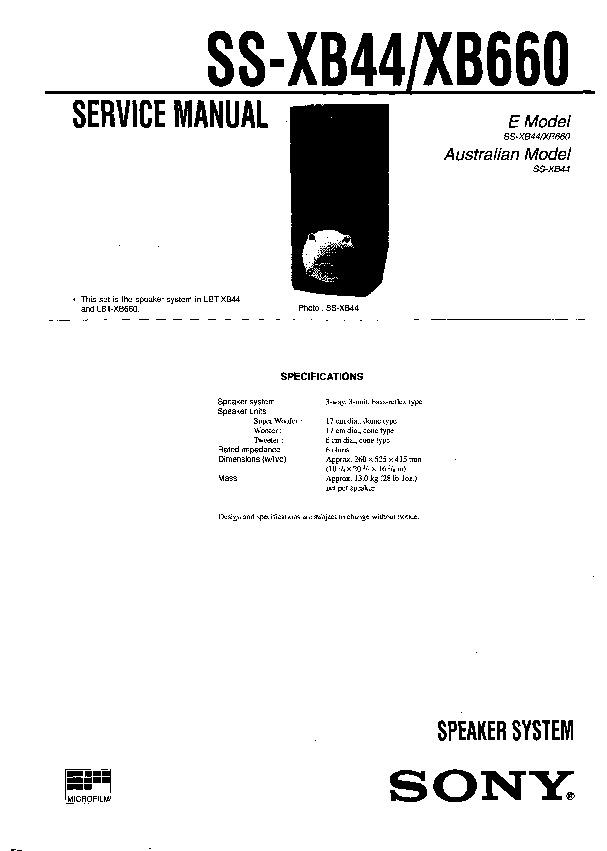 sony lbt-xb44  ss-xb44  ss-xb660 service manual