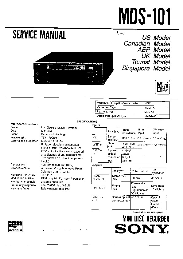 sony mds-101 service manual
