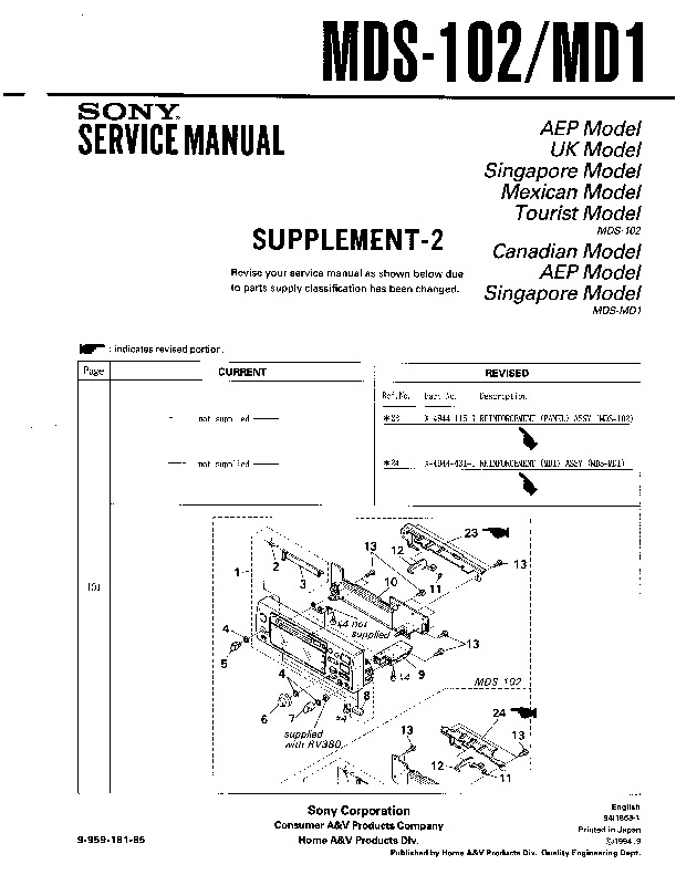 sony mds-102  mds-md1 service manual