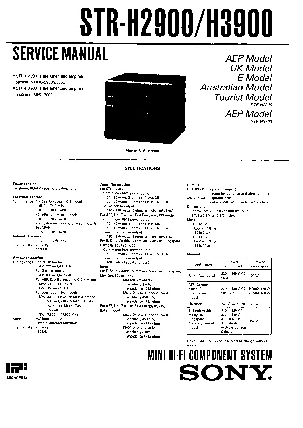 sony mhc-3900  ss-h4900 service manual