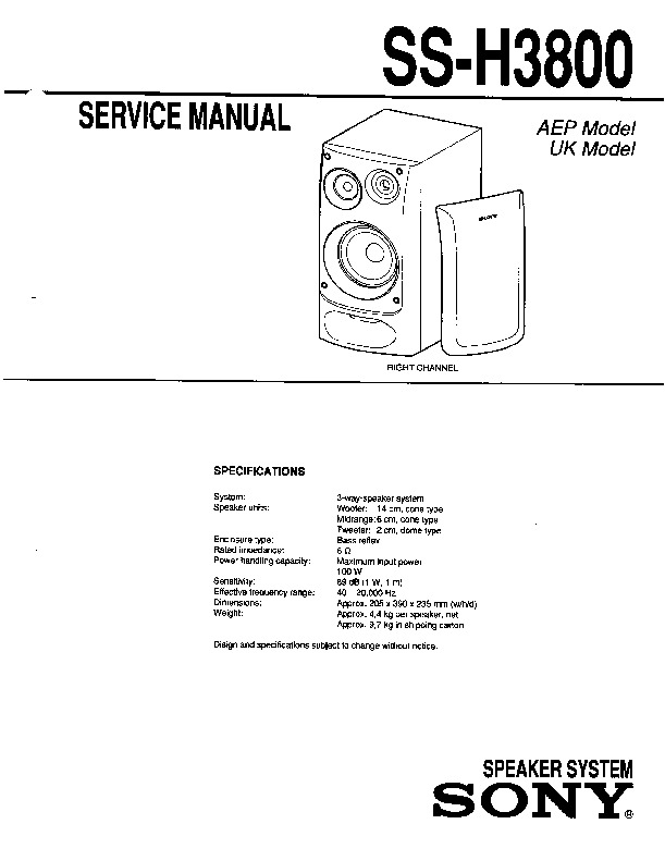 sony mhc-3800  ss-h3800 service manual