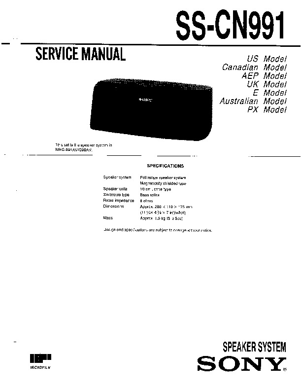 sony mhc-991av  mhc-g99av service manual