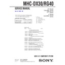 MHC-DX30, MHC-RG40 Service Manual