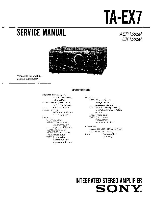 Sony Mhc-ex7  Ta-ex7 Service Manual