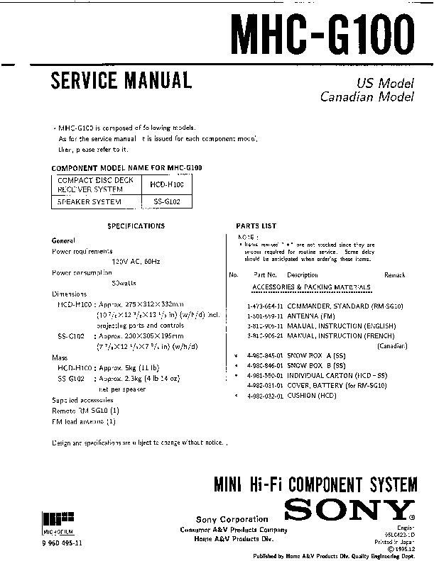 Sony Audio Service Manuals Page 101