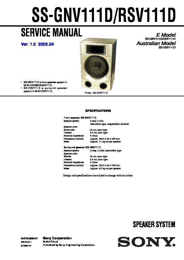 Sony Mhc Gnv111d Mhc Gnv99d Service Manual Free Download