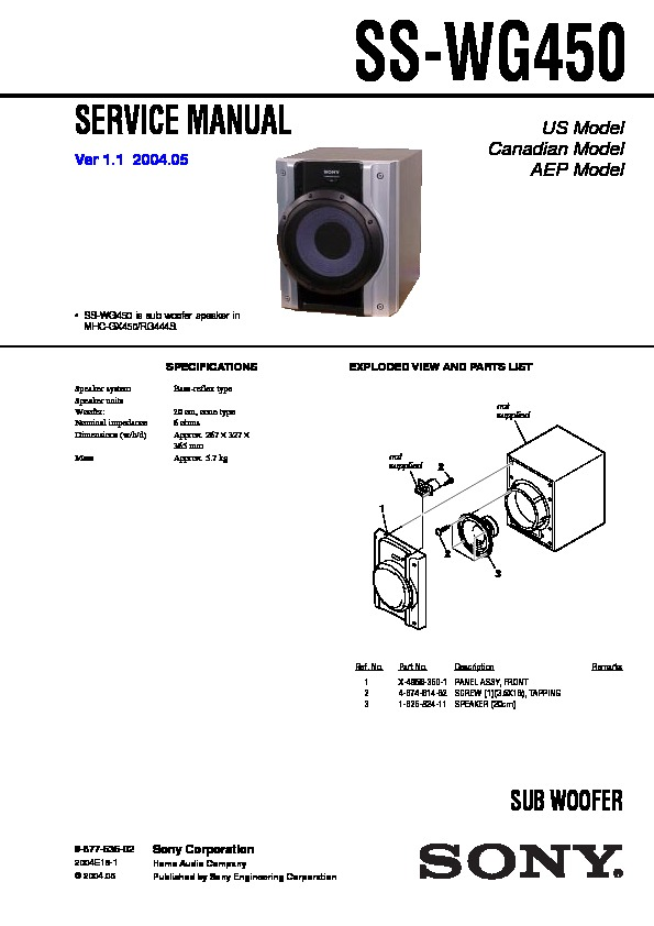 Sony Mhc-gx450 Service Manual