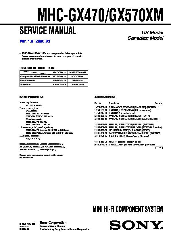 Sony Mhc-gx470  Mhc-gx570xm Service Manual