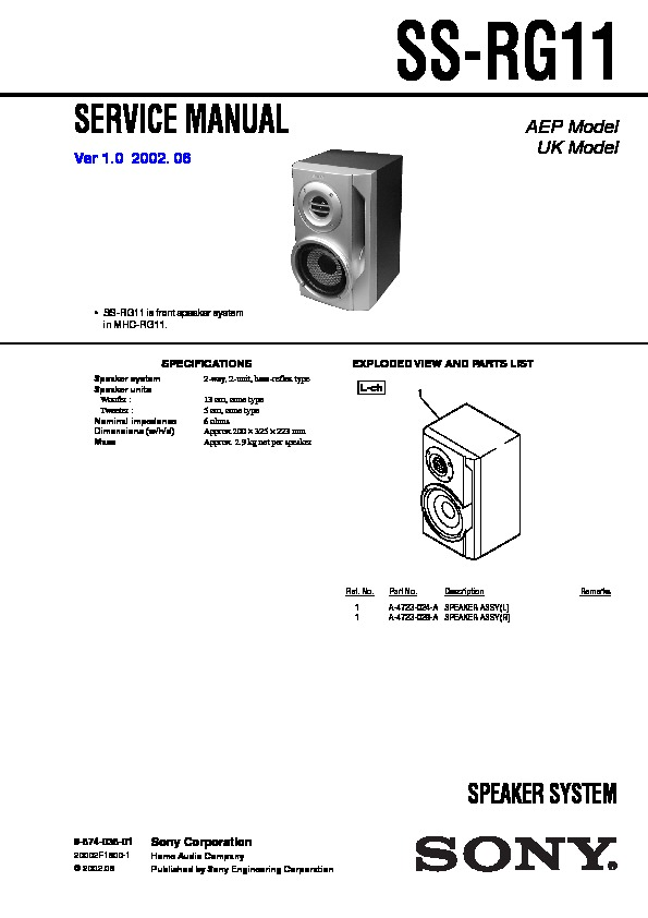 sony mhc-rg11 service manual