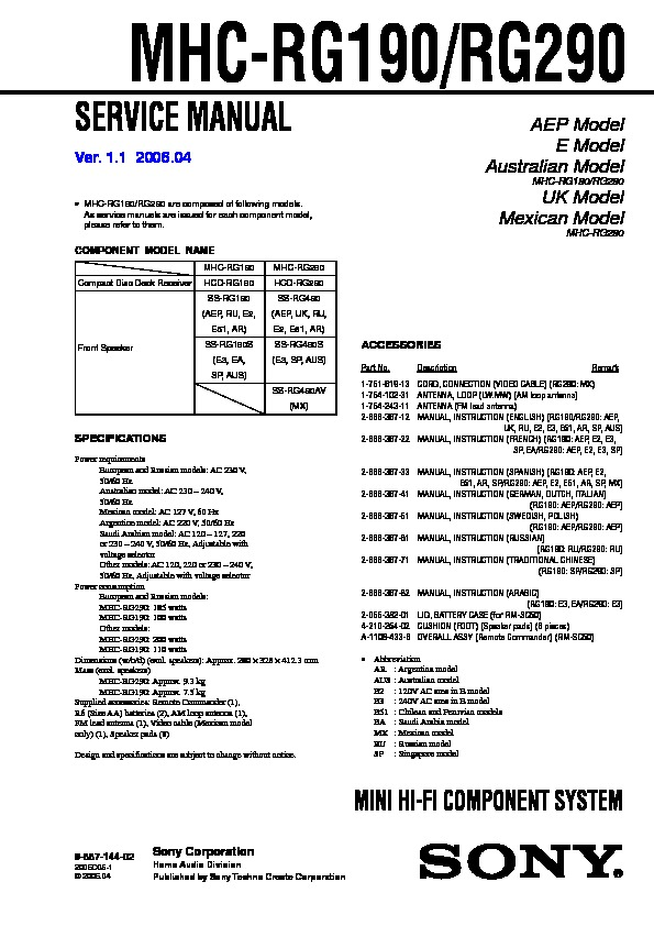 Sony Mhc Rg190 Mhc Rg290 Service Manual Free Download