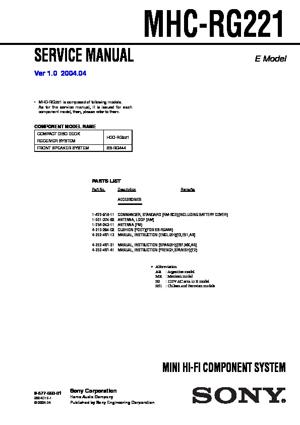 Sony Mhc-rg221 Service Manual