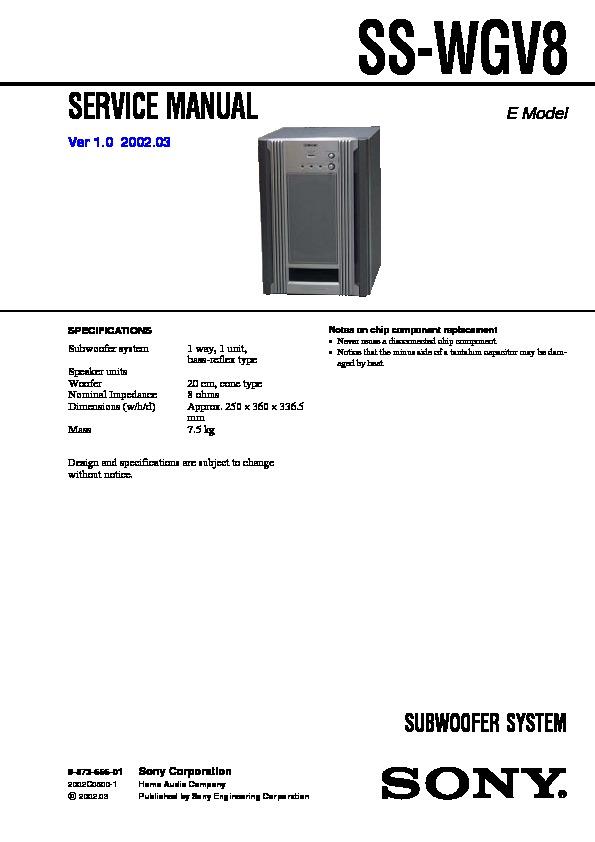 sony mhc-rg88  mhc-rv8  ss-wgv8 service manual