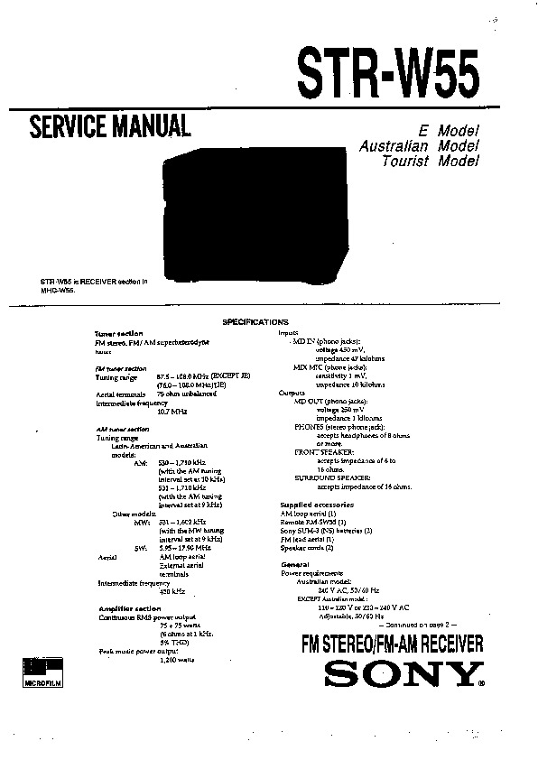 sony mhc-w55  str-w55 service manual