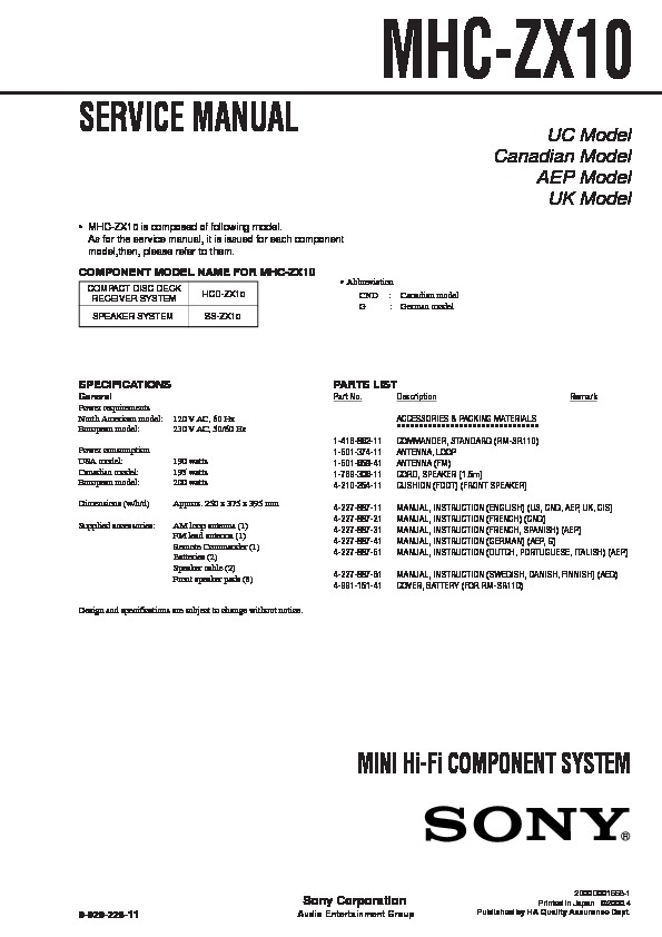 Sony Mhc-zx10 Service Manual
