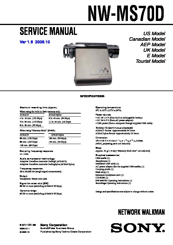 sony nw-ms70d service manual