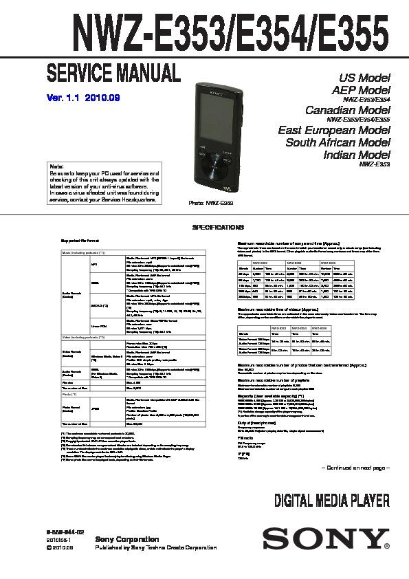sony nwz e353 nwz e354 nwz e355 service manual free download rh servicemanuals us Sony Walkman Nwz Battery Sony Walkman Nwz E354