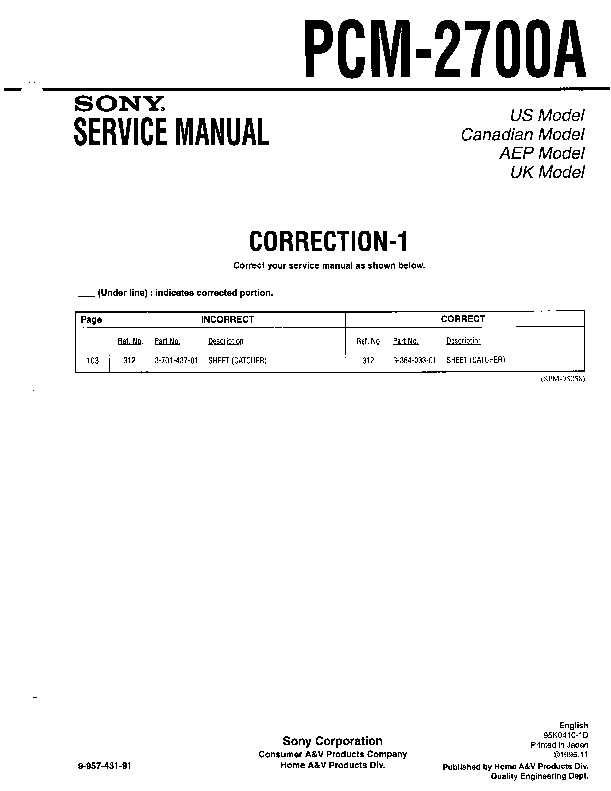 Sony PCM-2700A Service Manual - FREE DOWNLOAD