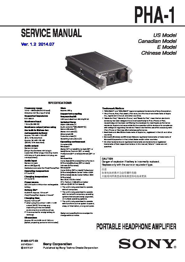sony pha-1 service manual
