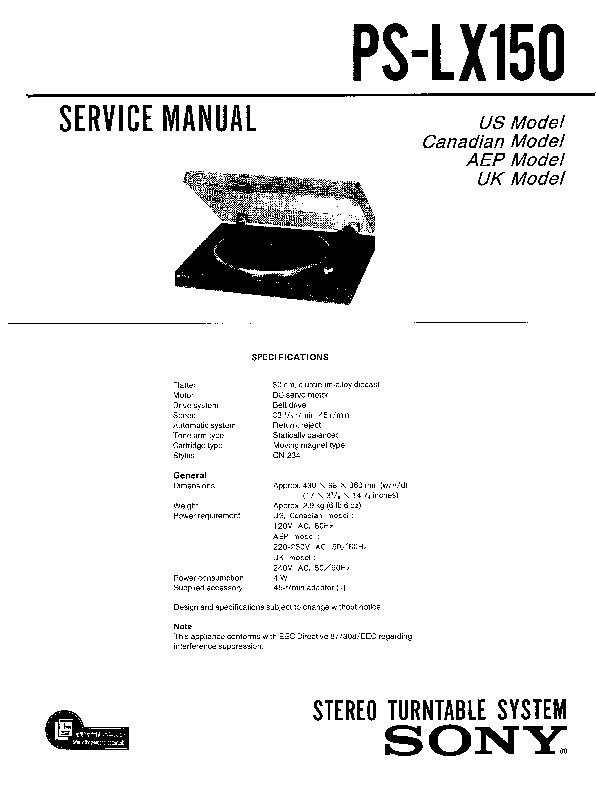 sony ps-lx150 service manual