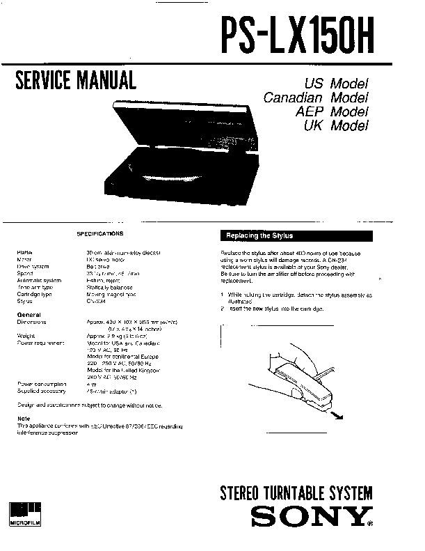 sony ps-lx150h service manual