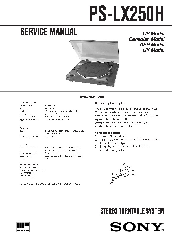 Sony Ps-lx250h Service Manual