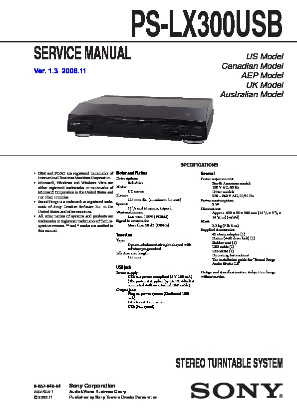 Sony Ps-lx300usb Service Manual