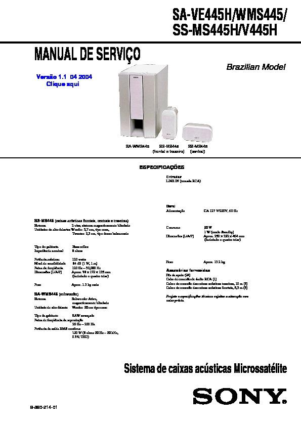 Sony Sa-Ve445H, Sa-Wms445 Service Manual - Free Download-4981