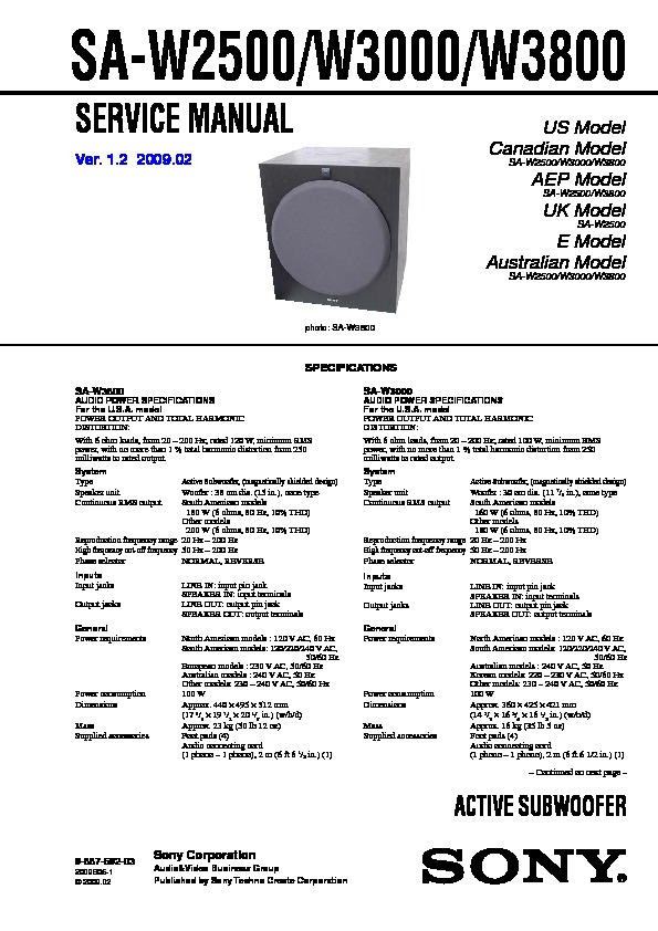 sony sa w2500 sa w3000 sa w3800 service manual free download rh servicemanuals us Sony Speakers 12-Inch Sony Powered Subwoofer Home Theater