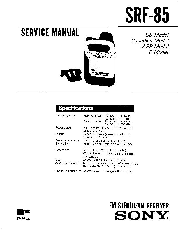 sony srf-85 service manual