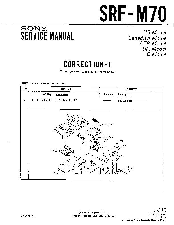 sony srf-m70 service manual