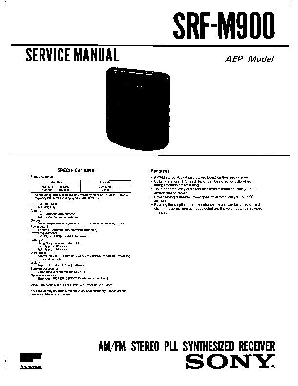 Sony Srf-m900 Service Manual
