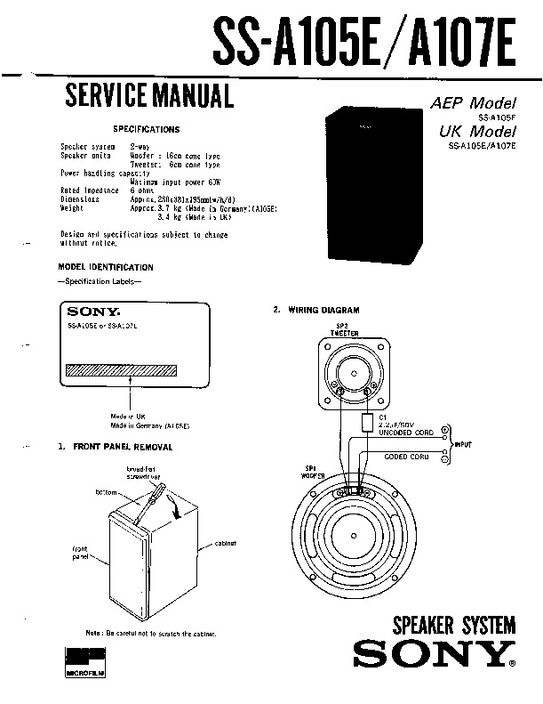 sony ss-a105e  ss-a107e service manual