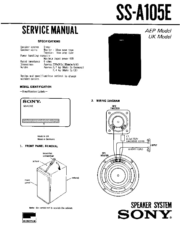 sony ss-a105e service manual