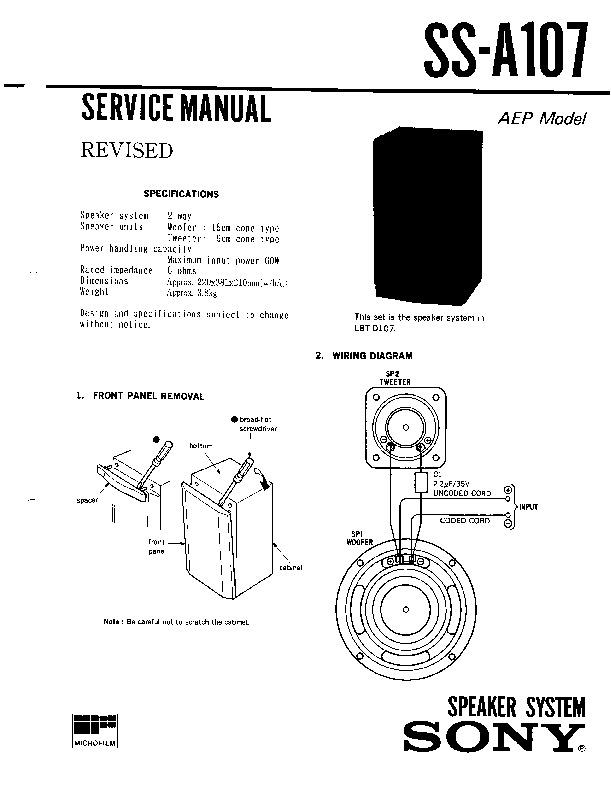 sony ss-a107 service manual