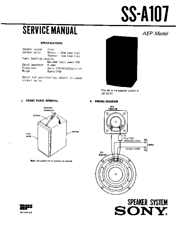 sony ss-a107 service manual