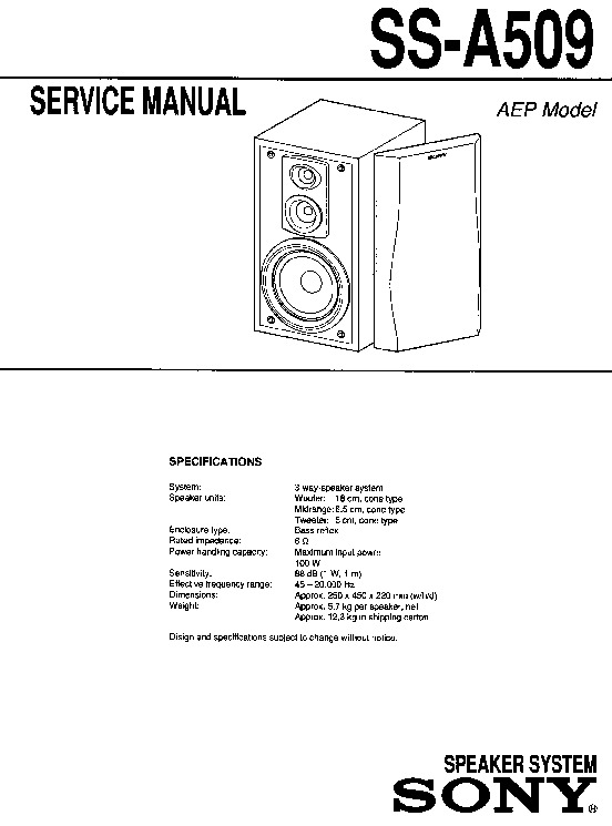 Sony Ss-a509 Service Manual