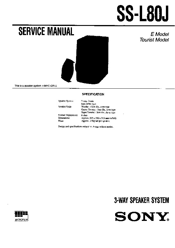 sony ss-l80j service manual