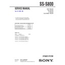 Sony SS-S800 Service Manual