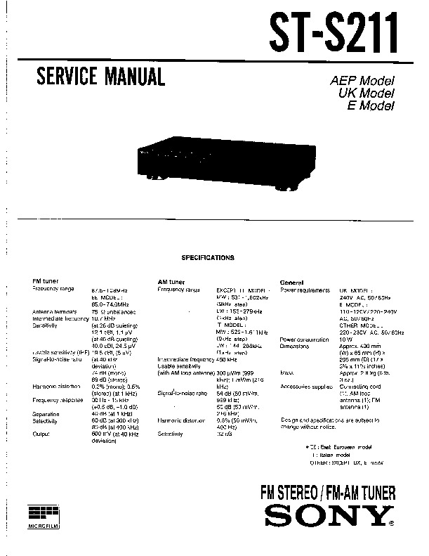sony st-s211 service manual
