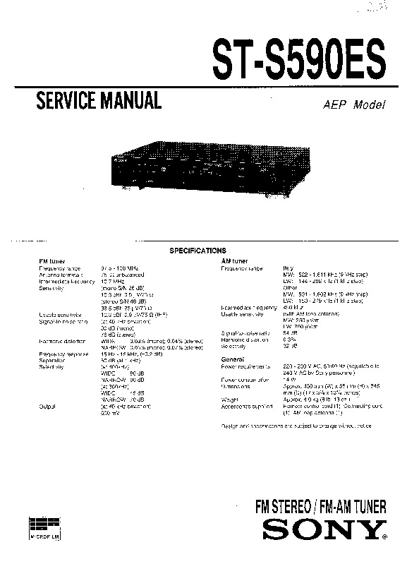 sony st-s590es service manual