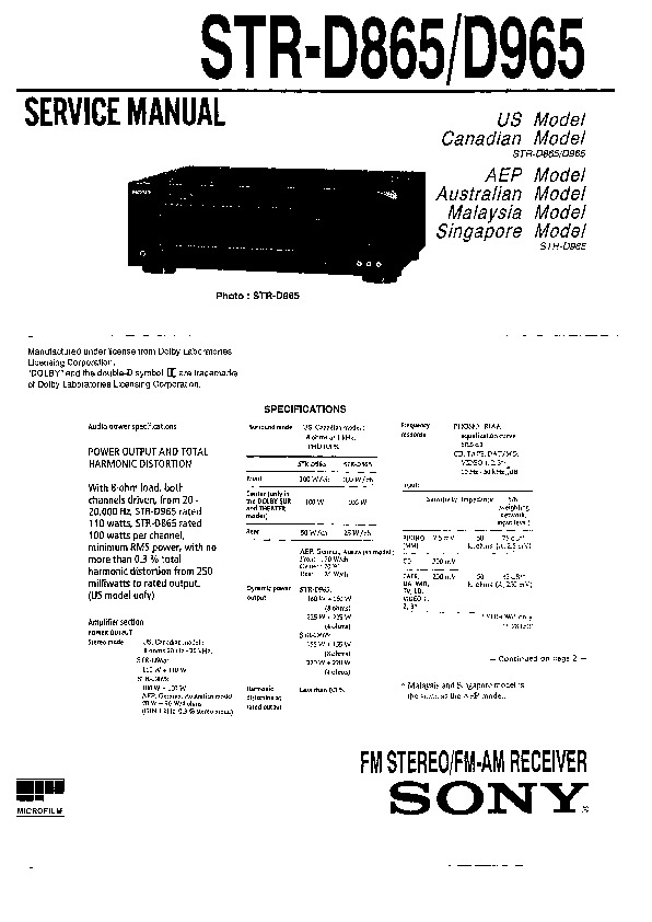 sony str-d865  str-d965 service manual