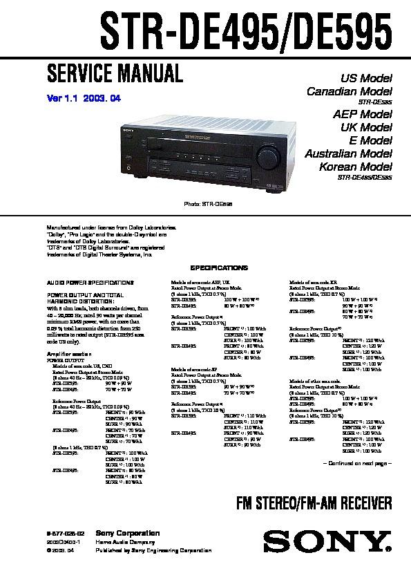 sony str de495 str de595 service manual free download rh servicemanuals us Sony STR- DE585 Sony FM AM Receiver STR-DE595